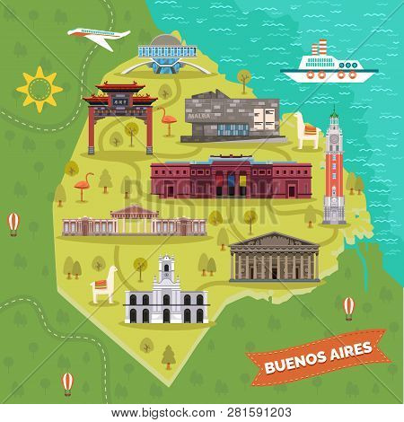 Argentina capital Buenos Aires map with landmarks. Galileo Galilei planetarium or Planetario, Cabildo, Latin American and National Museum of fine arts, Metropolitan Cathedral, Chacarita cemetery. Trip poster