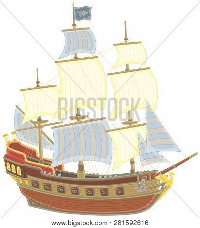 Old Sea Pirate Sailing Ship With Guns And A Black Flag Of Jolly Roger With Bones On A Main Mast, Vec