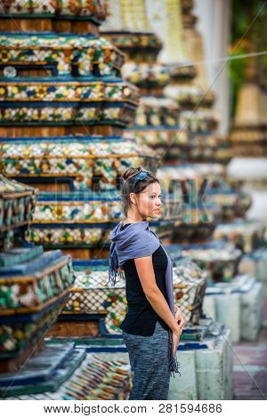 Woman Tourist Admires Wat Pho Temple Bangkok Thailand