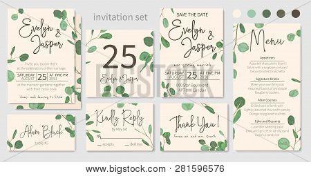 Set Of Wedding Invitations, Floral Invitations, Table, Menu, Thank You, Rsvp Card Design. Eucalyptus