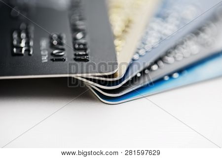 Credit Card Payment With Close Up Shot Isolated On White Background,selective Focus.