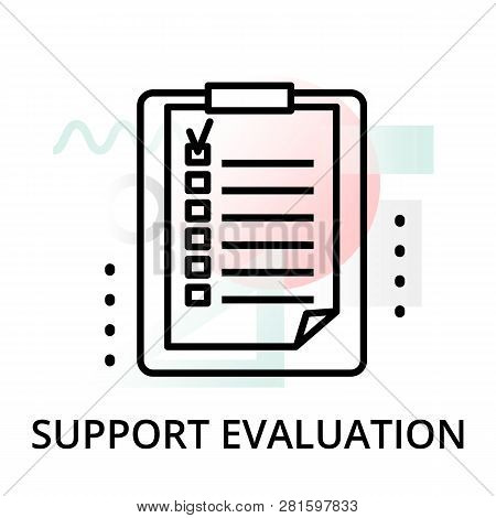 Modern Editable Line Vector Illustration, Support Evaluation Icon On Abstract Background, For Graphi