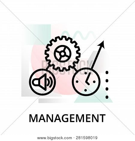Modern Editable Line Vector Illustration, Management Icon On Abstract Background, For Graphic, For G