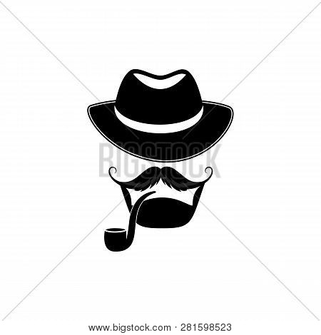 Bearded Man With A Hat And A Pipe. Detective. Sleuth. Barbershop Logo