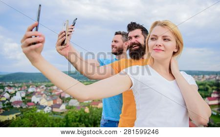 Selfie With No Filter. Best Friends Taking Selfie With Camera Phone. Pretty Woman And Men Holding Sm