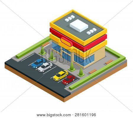 Isometric Shopping Mall Or Store. Parking And Shopping In City Vector Illustration