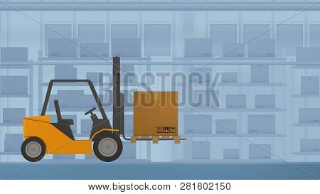Autonomous Driving Forklift With A Carton Box, Concept Of Warehouse Automation And Industry 4.0, Low