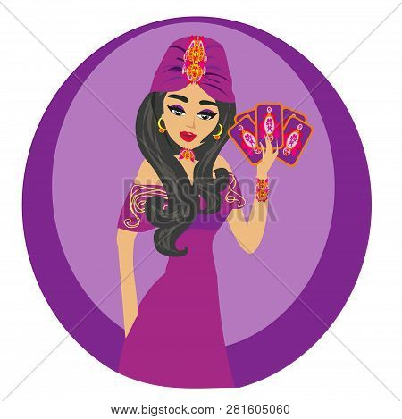 Beautiful Fortuneteller Woman With Cards , Vector Illustration