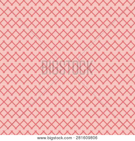 Red X On Pink Background Abstract Seamless Pattern. Modern Design Great For Invitations, Fabric, Wal