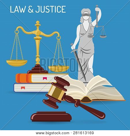 Law And Justice Concept With Flat Icons Justice Scales, Judge Gavel, Lady Justice, Law Books. Isolat