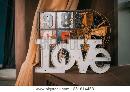 Wooden Letters Forming Word Love Written On Wooden Background. St. Valentines Day.old Funny Decorati