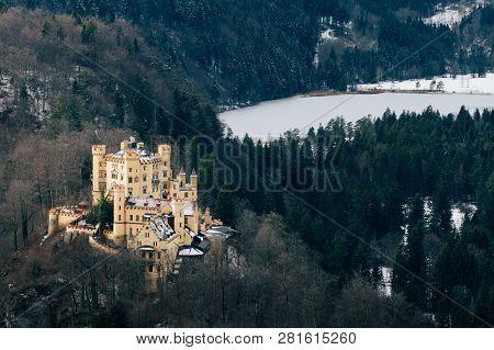Schwangau, Germany - December 2018: Winter View Over Hohenschwangau Castle