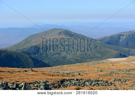 Mount Jefferson In Fall With Foliage From Summit Of Mount Washington, White Mountains, New Hampshire