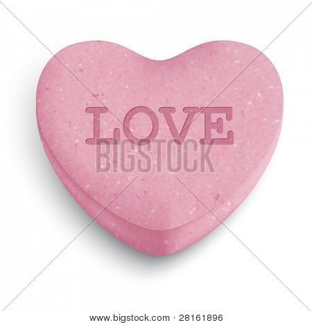 Pink sugar heart candy with love word