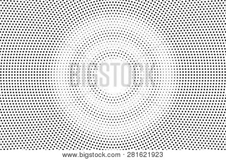 Black On White Faded Halftone Texture. Round Dotwork Gradient. Round Vector Background. Monochrome H