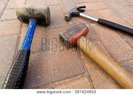 Different Types Of Hammer Including Lump Hammer And Rubber Mallet