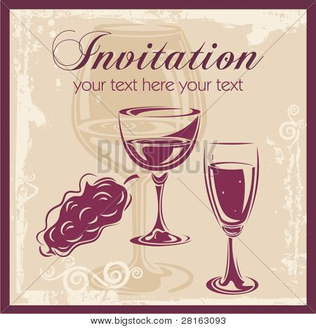 Wine vector background, great for invitations, wine cards and menus.