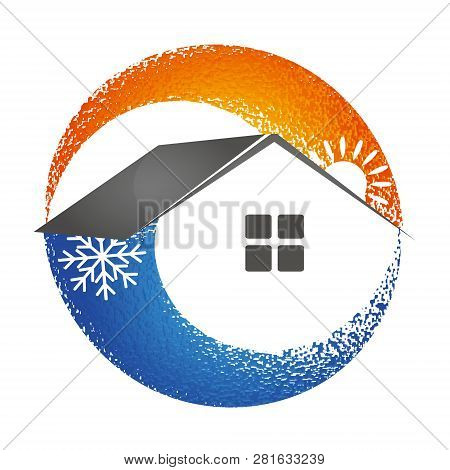 Heating And Cooling House Symbol Air, Conditioning