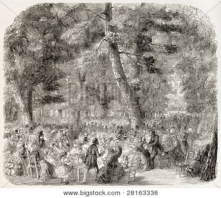 Military concert in Tuileries Palace garden, Paris. Created by Provost, published on L'Illustration, Journal Universel, Paris, 1858