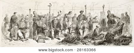 Chinese itinerant barbers old illustration. Created by Worms, published on L'Illustration, Journal Universel, Paris, 1858