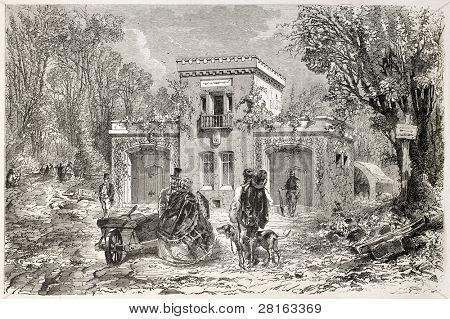 Guard house in the Bois de Vincennes, Paris surroundings. Created by Ferat and Fessart, published on L'Illustration, Journal Universel, Paris, 1858
