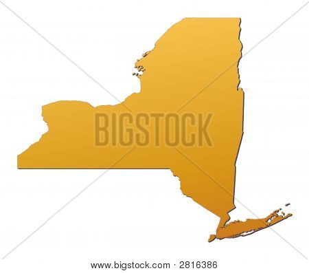 New York (USA) map filled with orange gradient. Mercator projection. poster