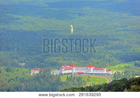 Mount Washington Hotel in summer, from summit of Mount Rosebrook, Bretton Woods, New Hampshire, USA. This Hotel hosted the Bretton Woods monetary conference in 1944.