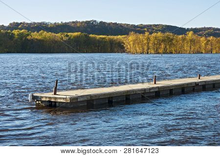 Pier Waters And Wooded Islands Of Mississippi River Backwaters During Autumn In Prairie Du Chien Wis