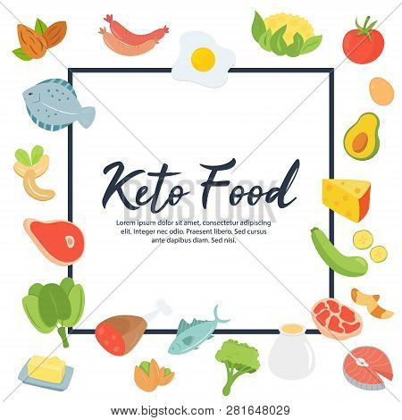 Absctract Concept Ketogenic Diet Food, Round Illustration