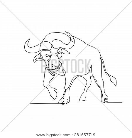 Continuous Line Illustration Of An African Buffalo Or Cape Buffalo, A Large African Bovine, About To