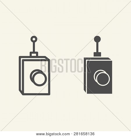 Remote Controller Line And Glyph Icon. Remote Controller With Antena Vector Illustration Isolated On
