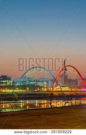 Daejeon,south Korea; January 17, 2019;  Night View Of Bridge And Double Arches At Expo River Park Ea