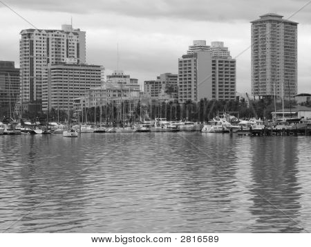 Manila Bay Skyline In Black And White