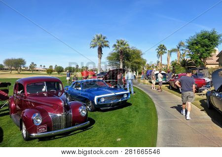 Palm Springs, California, United States - January 27th, 2019: People At Charity Car Show Admiring Ro