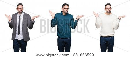 Collage of handsome business man over white isolated background clueless and confused expression with arms and hands raised. Doubt concept.