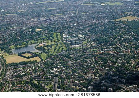 Aerial View From The North Of The Wimbledon District Of South London With The Famous Grounds Of The