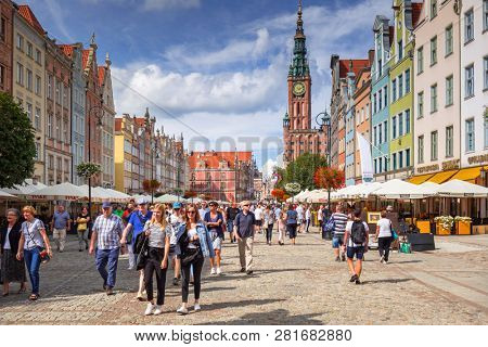 Gdansk, Poland - September 1, 2018: Architecture of the old town in Gdansk, Poland. Gdansk is the historical capital of Polish Pomerania with medieval old town architecture.