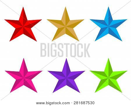 Set Glossy Star Icon On White Background. Flat Style. Red, Gold, Blue,ufo Green, Plastic Pink, Proto