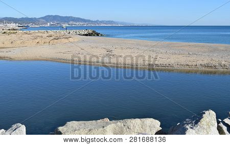 Mouth Of The Rio Besós In Barcelona   Mouth To The Sea Of The Rio Besos In Barcelona