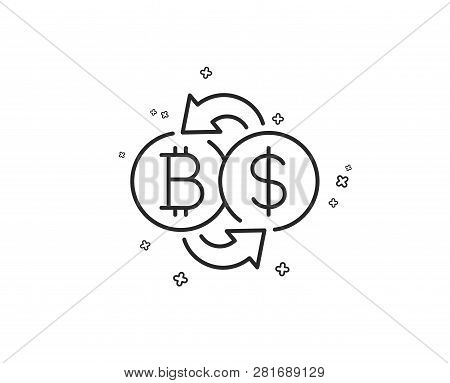 Bitcoin Exchange Line Icon. Cryptocurrency Coin Sign. Dollar Money Symbol. Geometric Shapes. Random