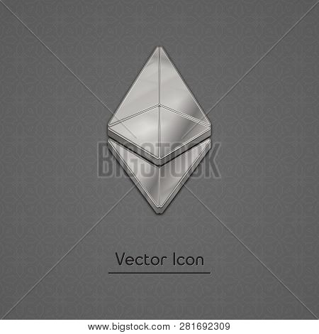 Silver Ethereum Coin Symbol Isolated Web Vector Icon. Ethereum Coin Trendy 3d Style Vector Icon. Rai