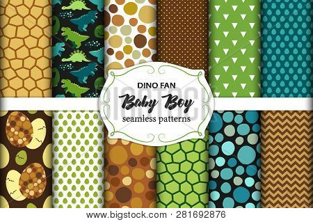 Cute Set Of Childish Seamless Patterns With Dinosaurs Ideal For Fabrics, Wallpaper And Different Sur
