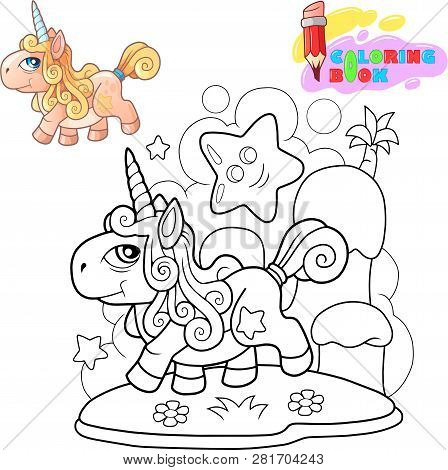 Little Cartoon Cute Pony Unicorn, Coloring Book, Funny Illustration