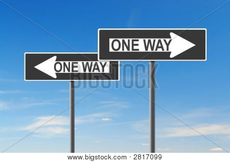 Two One Way roadsigns indicating opposite directions over blue sky - confusion concept poster