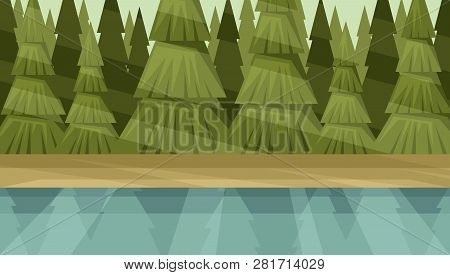 River Bank On The Forest Background. Conifer Thicket