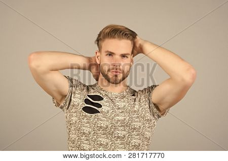Guy Bearded Attractive With Hairstyle. Man Bearded Strict Face Enjoy Freshness Of Hair, Grey Backgro