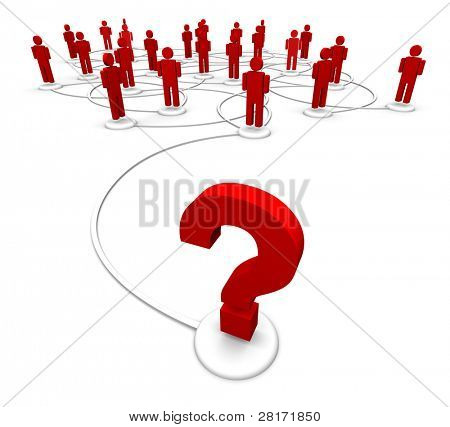 Question mark linked to a network of people