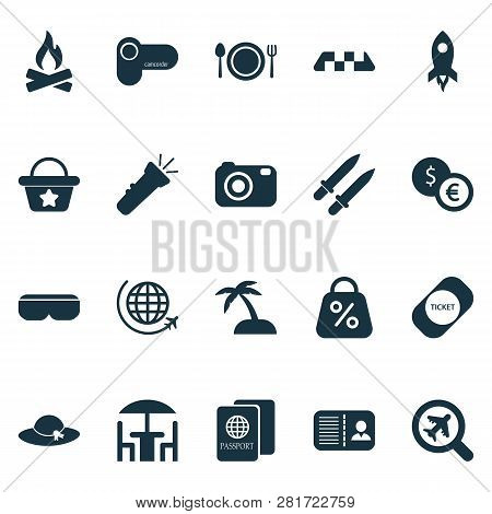 Journey Icons Set With Discount, Ticket, Flashlight And Other Identification Elements. Isolated  Ill