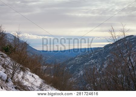View Of Mountain Range Of Dinaric Alps  On Cloudy Winter Day. Bosnia And Herzegovina, Republika Srps