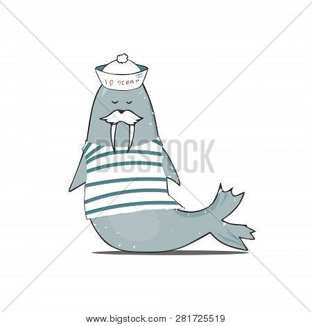 Mustachioed Walrus In Vest And Cap Vector Walrus Illustration Character Color Texture Shabby Style B